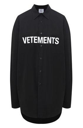 Женская хлопковая рубашка VETEMENTS черного цвета, арт. UE51SH300B 1004/W | Фото 1