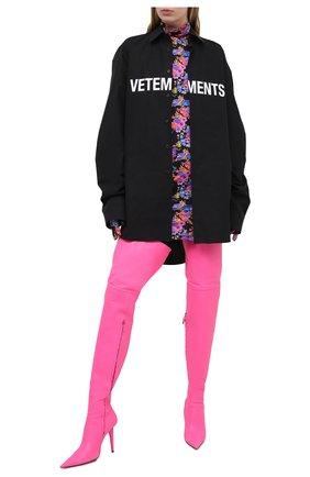 Женская хлопковая рубашка VETEMENTS черного цвета, арт. UE51SH300B 1004/W | Фото 2