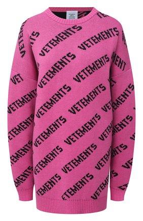 Женский свитер из хлопка и кашемира VETEMENTS фуксия цвета, арт. UE51KN200P 1399/W   Фото 1
