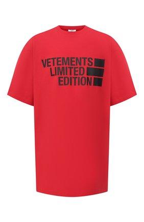 Мужская хлопковая футболка VETEMENTS красного цвета, арт. UE51TR810R 1611/M | Фото 1