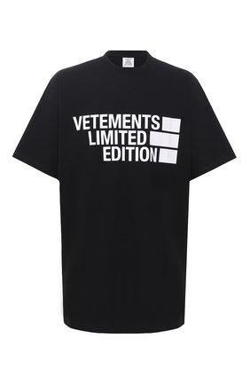 Мужская хлопковая футболка VETEMENTS черного цвета, арт. UE51TR810B 1611/M   Фото 1