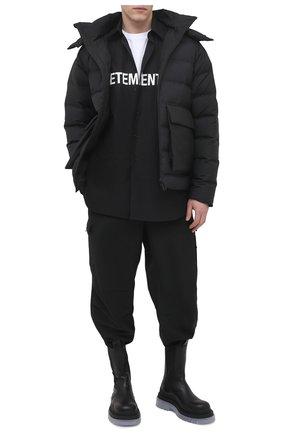Мужская хлопковая рубашка VETEMENTS черного цвета, арт. UE51SH300B 1004/M   Фото 2
