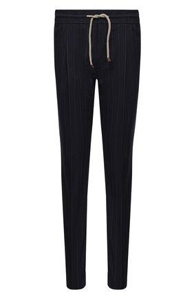 Мужские шерстяные брюки BRUNELLO CUCINELLI синего цвета, арт. MD473E1740 | Фото 1 (Материал подклада: Вискоза; Случай: Повседневный; Материал внешний: Шерсть; Стили: Кэжуэл; Длина (брюки, джинсы): Стандартные)