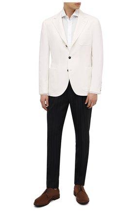 Мужские шерстяные брюки BRUNELLO CUCINELLI синего цвета, арт. MD473E1740 | Фото 2 (Материал подклада: Вискоза; Случай: Повседневный; Материал внешний: Шерсть; Стили: Кэжуэл; Длина (брюки, джинсы): Стандартные)