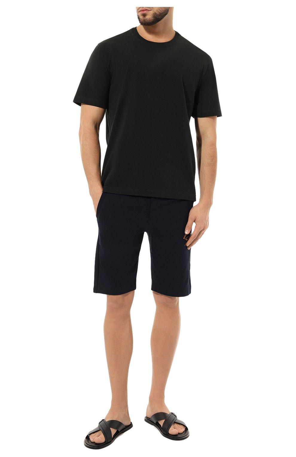 Мужские кожаные шлепанцы GIORGIO ARMANI черного цвета, арт. X2P045/XM838   Фото 2