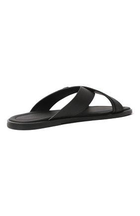 Мужские кожаные шлепанцы GIORGIO ARMANI черного цвета, арт. X2P045/XM838   Фото 5