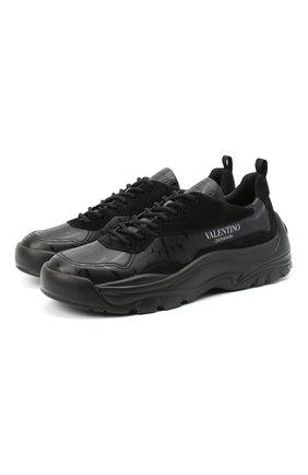 Мужские кожаные кроссовки gumboy valentino garavani VALENTINO черного цвета, арт. VY2S0B17/AAI | Фото 1