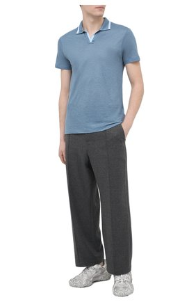 Мужское льняное поло ORLEBAR BROWN голубого цвета, арт. 272168 | Фото 2