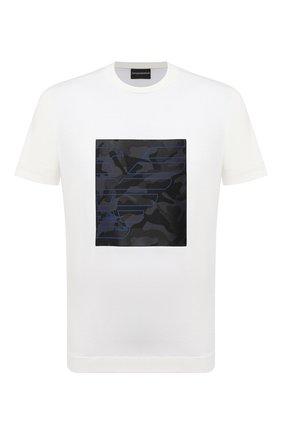 Мужская хлопковая футболка EMPORIO ARMANI белого цвета, арт. 3K1TM7/1JDXZ | Фото 1 (Рукава: Короткие; Материал внешний: Хлопок; Длина (для топов): Стандартные; Принт: С принтом; Стили: Кэжуэл)
