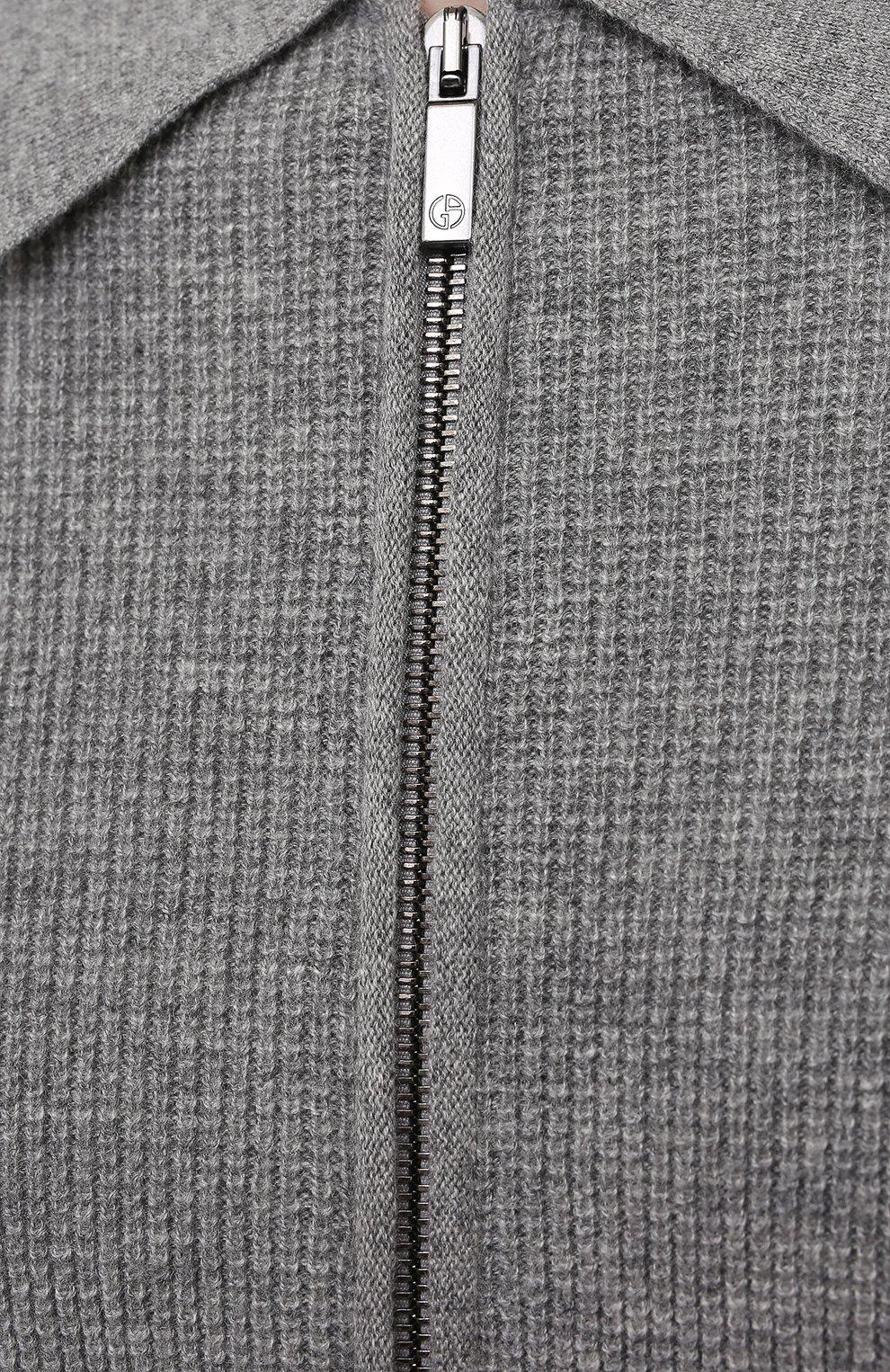 Мужской кашемировый кардиган GIORGIO ARMANI серого цвета, арт. 3KSB04/SM14Z | Фото 5