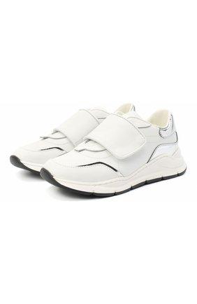 Детские кожаные кроссовки DOLCE & GABBANA белого цвета, арт. DA0911/AK186/24-28   Фото 1
