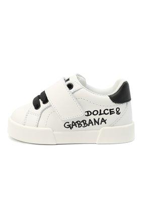 Детские кожаные кеды DOLCE & GABBANA белого цвета, арт. DN0155/AB271 | Фото 2