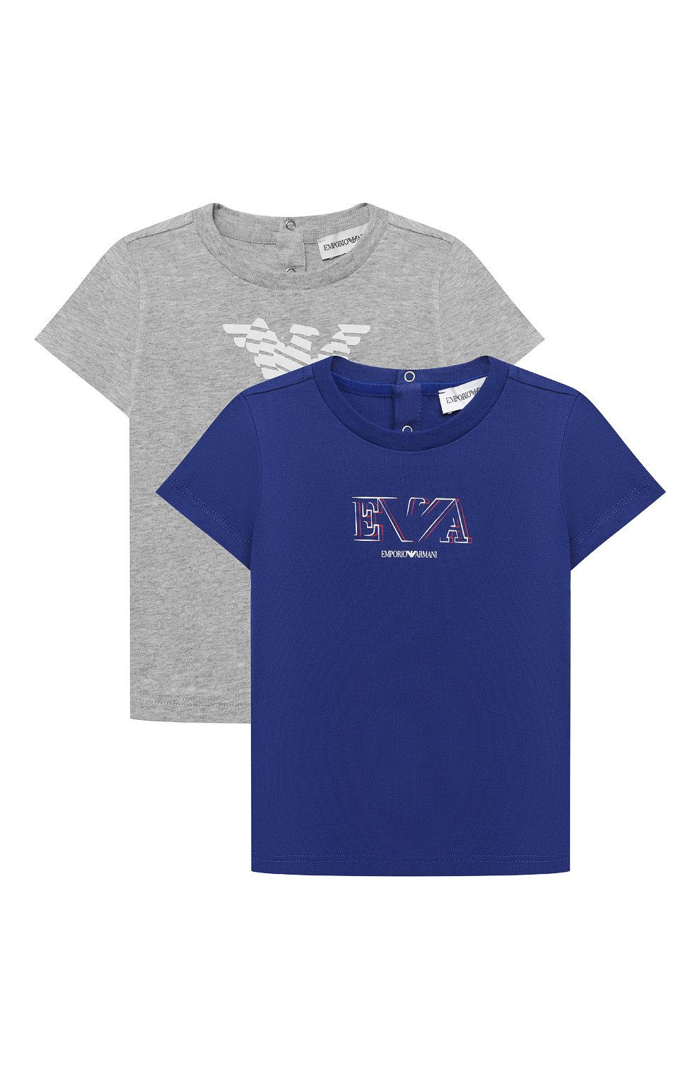 Детский комплект из двух футболок EMPORIO ARMANI синего цвета, арт. 3KHD01/4J09Z | Фото 1