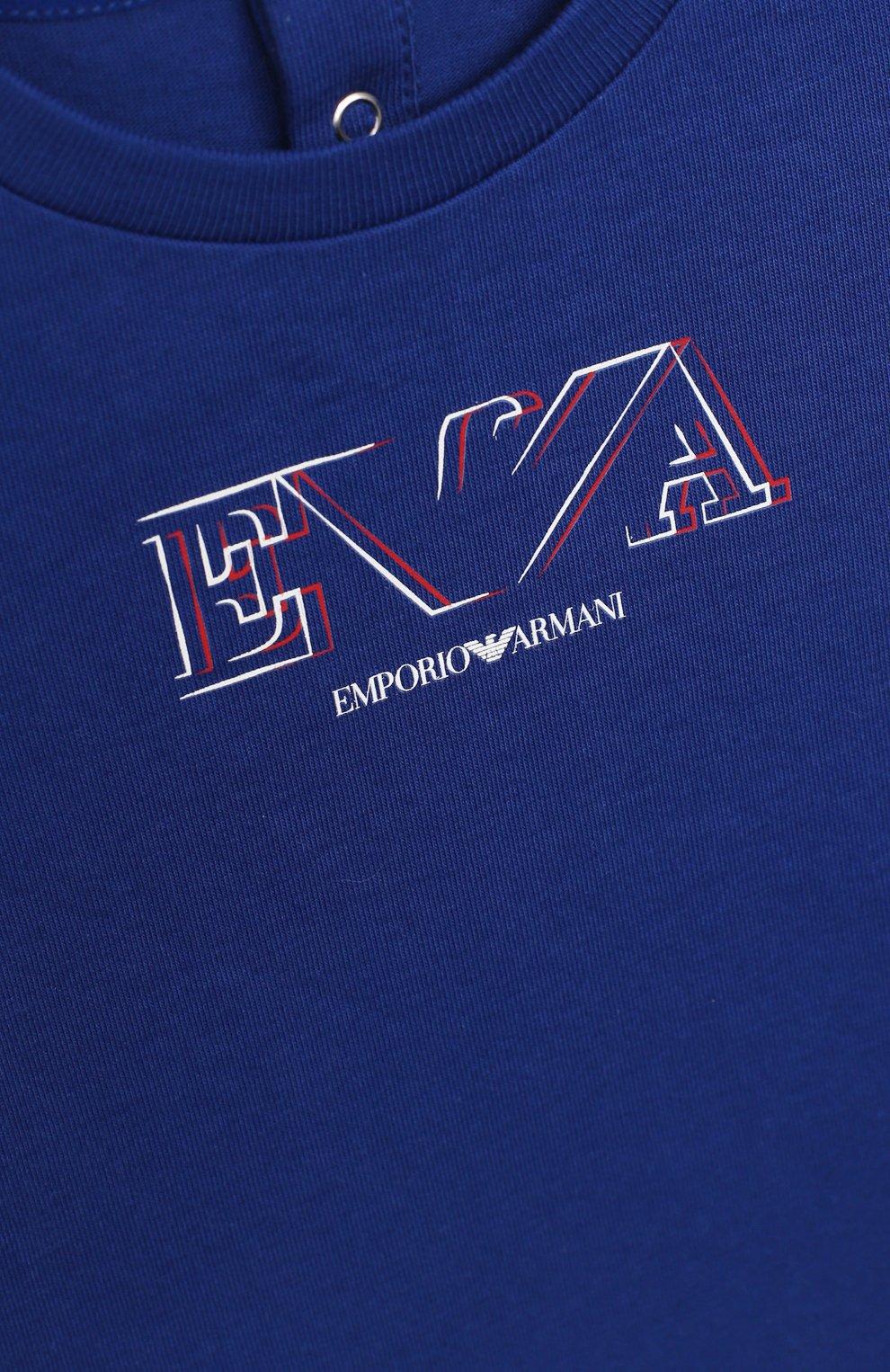 Детский комплект из двух футболок EMPORIO ARMANI синего цвета, арт. 3KHD01/4J09Z | Фото 5