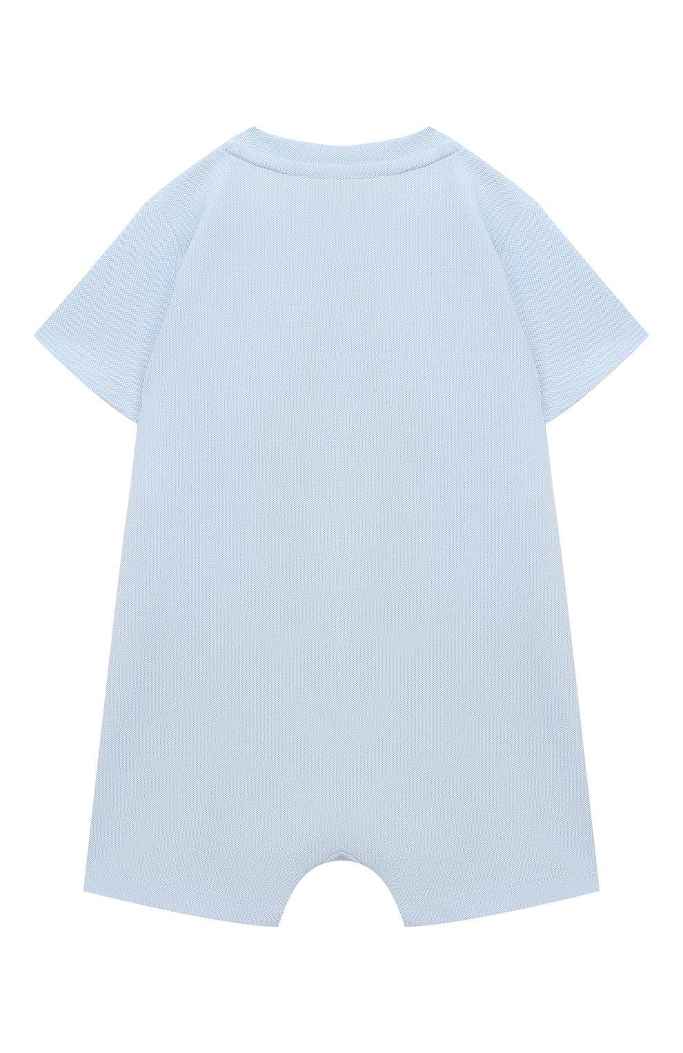 Детское хлопковый комбинезон EMPORIO ARMANI голубого цвета, арт. 3KHD77/4J4NZ   Фото 2
