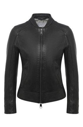Женская кожаная куртка BOSS черного цвета, арт. 50442461 | Фото 1