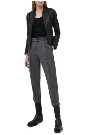 Женская кожаная куртка BOSS черного цвета, арт. 50442461 | Фото 2