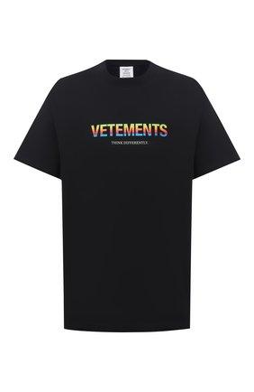 Мужская хлопковая футболка VETEMENTS черного цвета, арт. UE51TR620B 1611/M   Фото 1