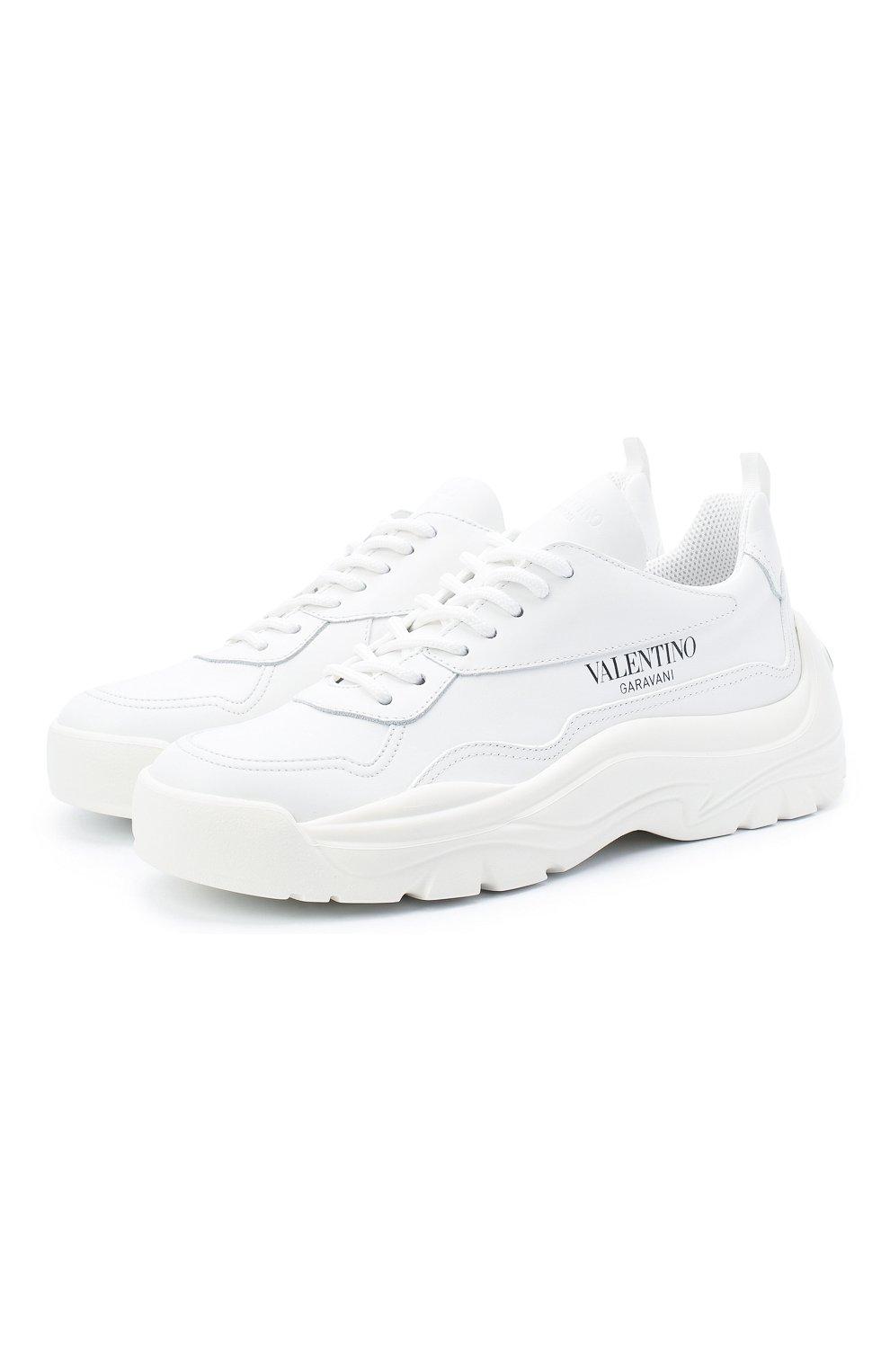 Женские кожаные кроссовки gumboy VALENTINO белого цвета, арт. VW2S0K55/AEQ   Фото 1 (Подошва: Платформа; Материал внутренний: Текстиль)