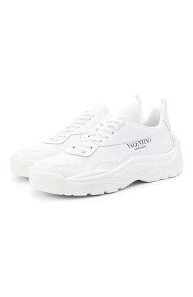 Женские кожаные кроссовки gumboy VALENTINO белого цвета, арт. VW2S0K55/AEQ | Фото 1 (Подошва: Платформа; Материал внутренний: Текстиль)