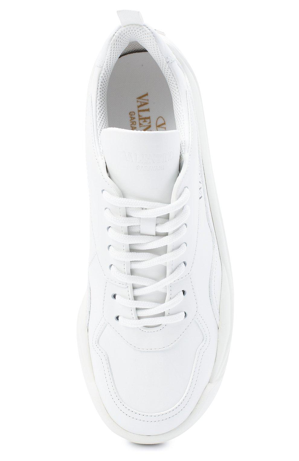 Женские кожаные кроссовки gumboy VALENTINO белого цвета, арт. VW2S0K55/AEQ   Фото 5 (Подошва: Платформа; Материал внутренний: Текстиль)