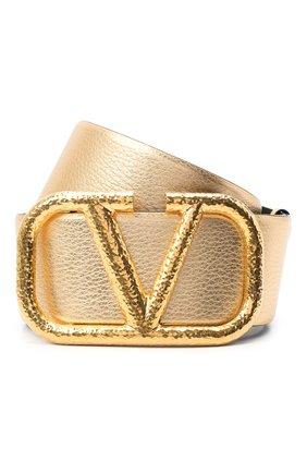 Женский кожаный ремень  VALENTINO золотого цвета, арт. VW2T0S10/YSM | Фото 1 (Материал: Кожа)
