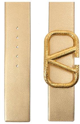 Женский кожаный ремень  VALENTINO золотого цвета, арт. VW2T0S10/YSM | Фото 2 (Материал: Кожа)