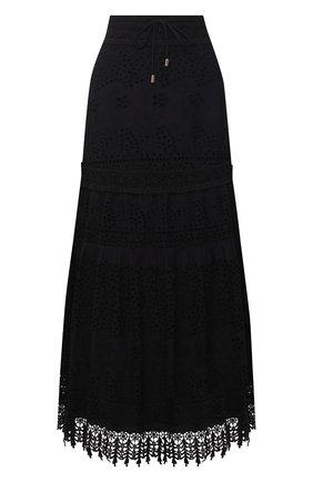 Женская хлопковая юбка MELISSA ODABASH черного цвета, арт. ALESSIA | Фото 1