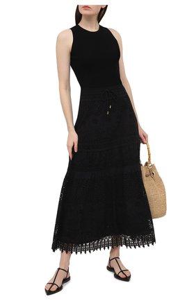 Женская хлопковая юбка MELISSA ODABASH черного цвета, арт. ALESSIA | Фото 2