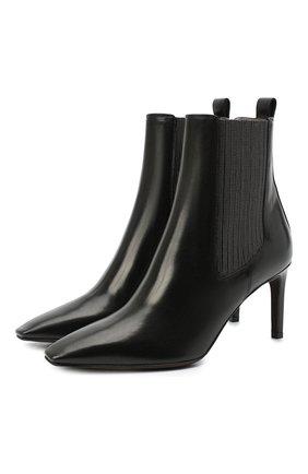 Женские кожаные ботильоны BRUNELLO CUCINELLI черного цвета, арт. MZPRC1933   Фото 1 (Материал внутренний: Натуральная кожа; Подошва: Плоская; Каблук тип: Шпилька; Каблук высота: Высокий)