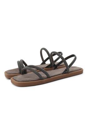 Женские кожаные сандалии BRUNELLO CUCINELLI серого цвета, арт. MZBSG1986 | Фото 1 (Подошва: Платформа; Материал внутренний: Натуральная кожа)
