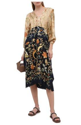 Женские кожаные сандалии BRUNELLO CUCINELLI серого цвета, арт. MZBSG1986 | Фото 2 (Подошва: Платформа; Материал внутренний: Натуральная кожа)