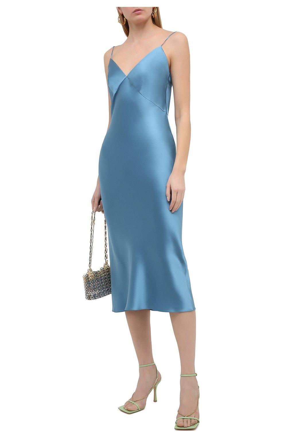 Женское шелковое платье OLIVIA VON HALLE голубого цвета, арт. PS2148 | Фото 2