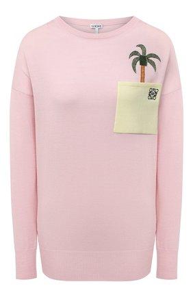 Женский шерстяной пуловер LOEWE розового цвета, арт. S897Y14K01   Фото 1
