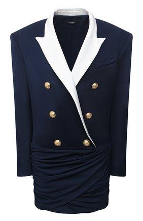 Женское платье из вискозы BALMAIN темно-синего цвета, арт. VF16230/J017   Фото 1 (Рукава: Длинные; Материал подклада: Вискоза; Материал внешний: Вискоза; Случай: Коктейльный; Стили: Гламурный; Длина Ж (юбки, платья, шорты): Мини)