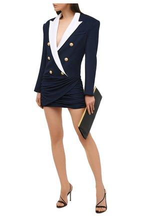 Женское платье из вискозы BALMAIN темно-синего цвета, арт. VF16230/J017   Фото 2 (Рукава: Длинные; Материал подклада: Вискоза; Материал внешний: Вискоза; Случай: Коктейльный; Стили: Гламурный; Длина Ж (юбки, платья, шорты): Мини)