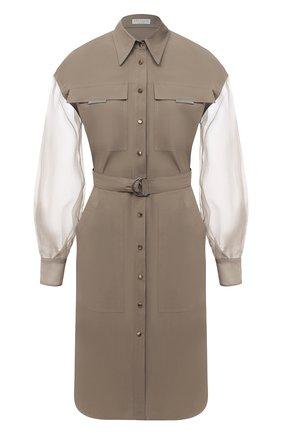 Женское платье из хлопка и шелка BRUNELLO CUCINELLI хаки цвета, арт. MH127AFM31 | Фото 1