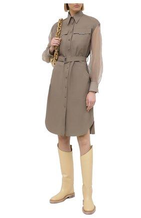 Женское платье из хлопка и шелка BRUNELLO CUCINELLI хаки цвета, арт. MH127AFM31 | Фото 2