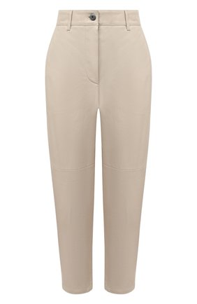 Женские кожаные брюки BRUNELLO CUCINELLI кремвого цвета, арт. M0TANP7425 | Фото 1