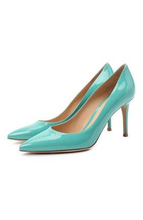 Женские кожаные туфли gianvito 85 GIANVITO ROSSI бирюзового цвета, арт. G24580.85RIC.VERMALE | Фото 1