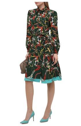 Женские кожаные туфли gianvito 85 GIANVITO ROSSI бирюзового цвета, арт. G24580.85RIC.VERMALE | Фото 2