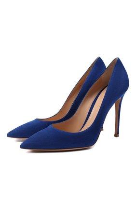 Женские замшевые туфли gianvito 105 GIANVITO ROSSI синего цвета, арт. G28470.15RIC.CAMHAWA | Фото 1