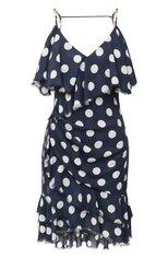 Женское шелковое платье BALMAIN темно-синего цвета, арт. VF16081/I629 | Фото 1