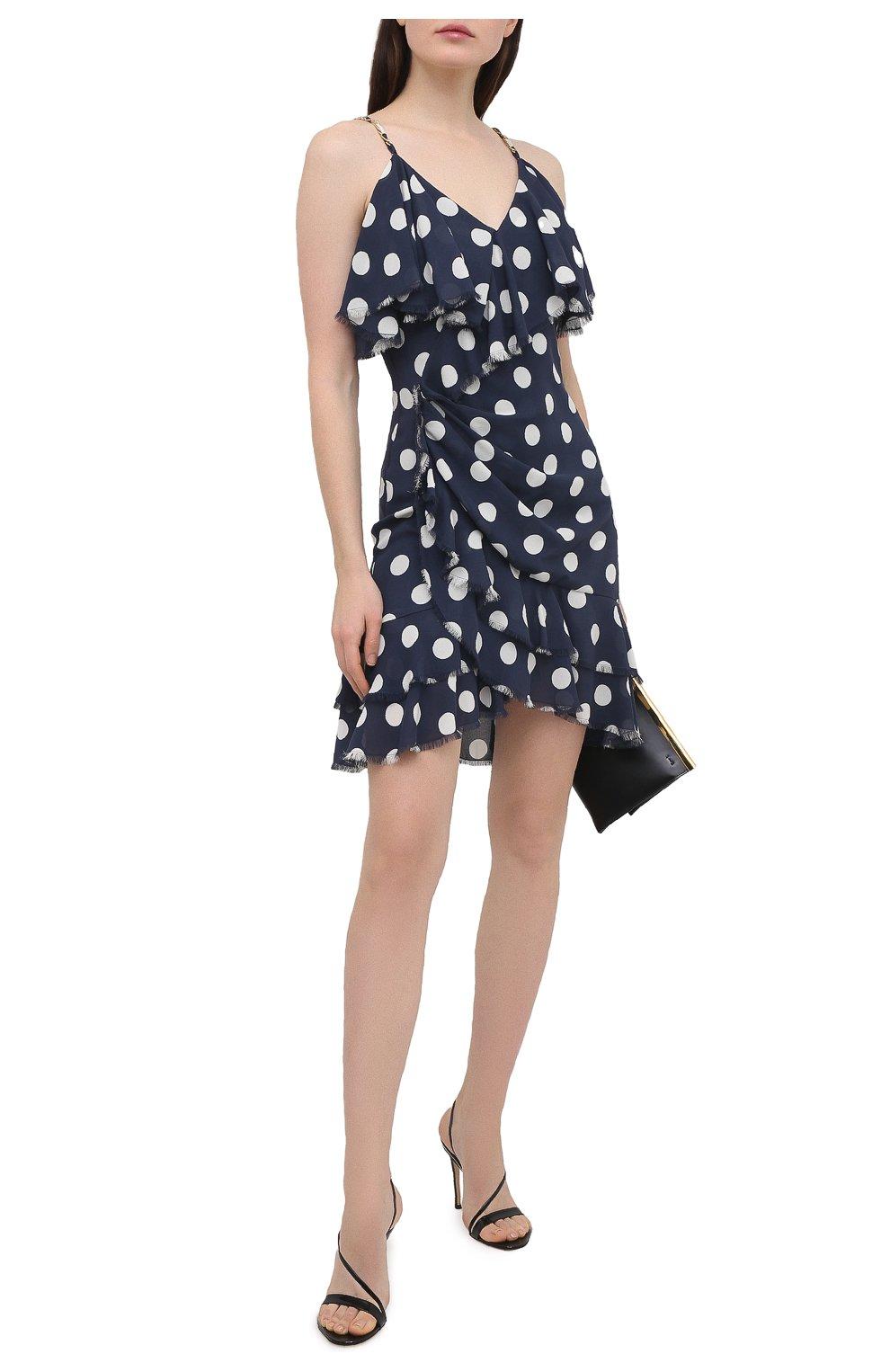 Женское шелковое платье BALMAIN темно-синего цвета, арт. VF16081/I629 | Фото 2