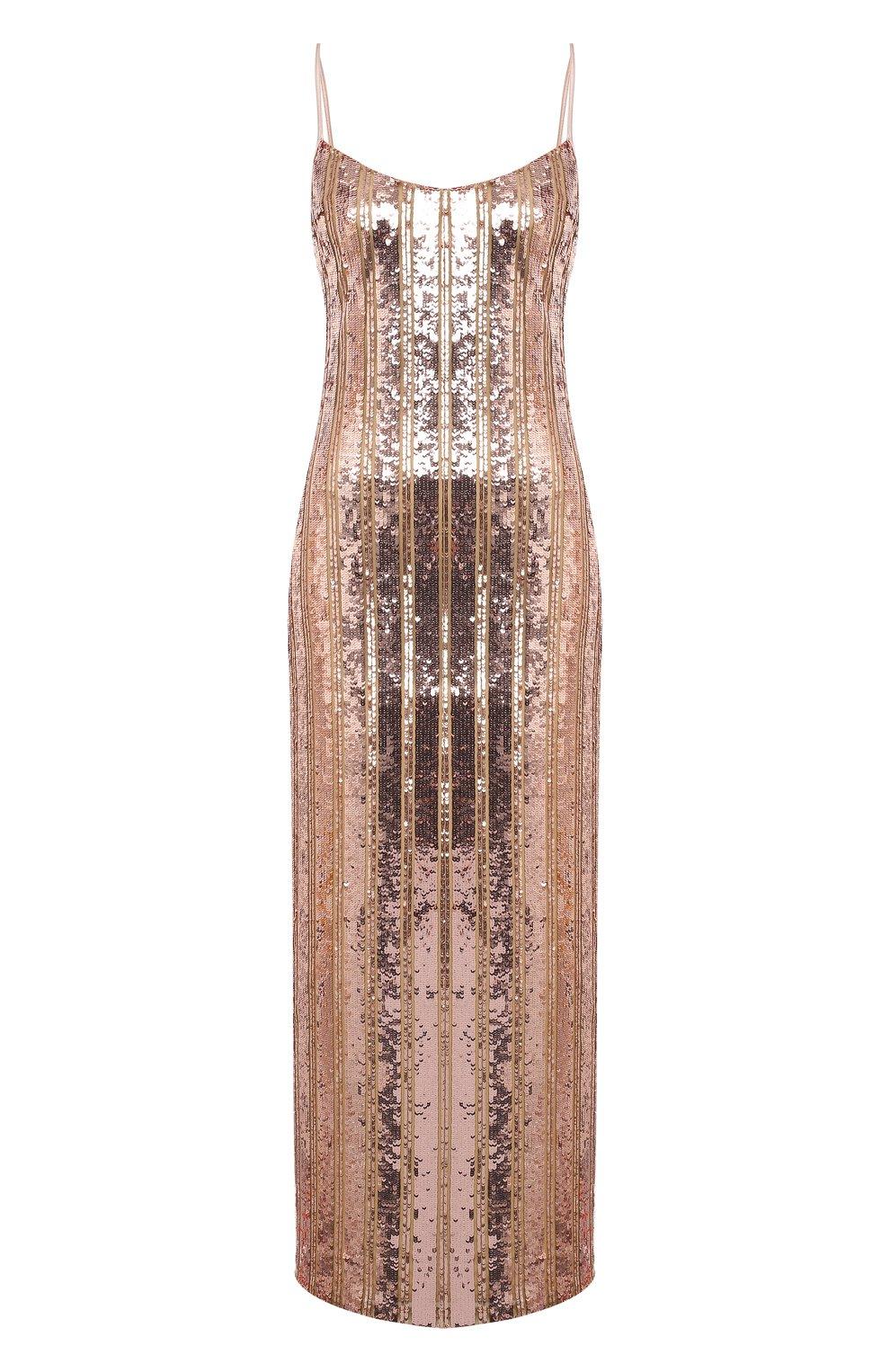 Женское платье с пайетками GALVAN LONDON золотого цвета, арт. CD1067 STRIPE MIRR0R SEQUIN   Фото 1