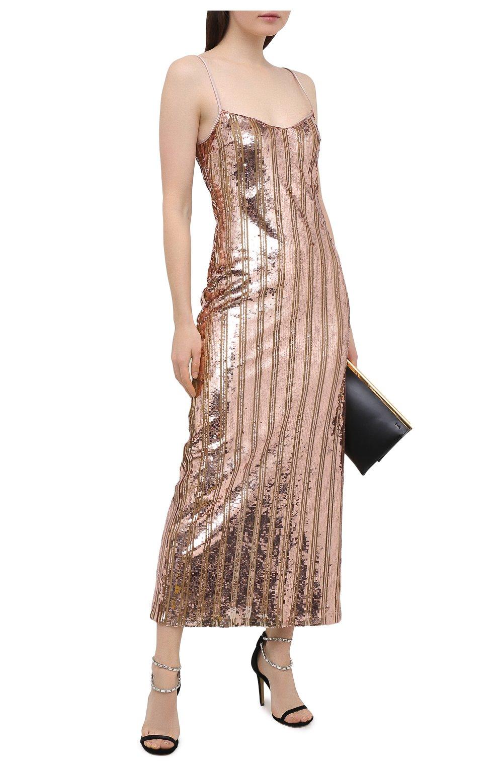 Женское платье с пайетками GALVAN LONDON золотого цвета, арт. CD1067 STRIPE MIRR0R SEQUIN   Фото 2
