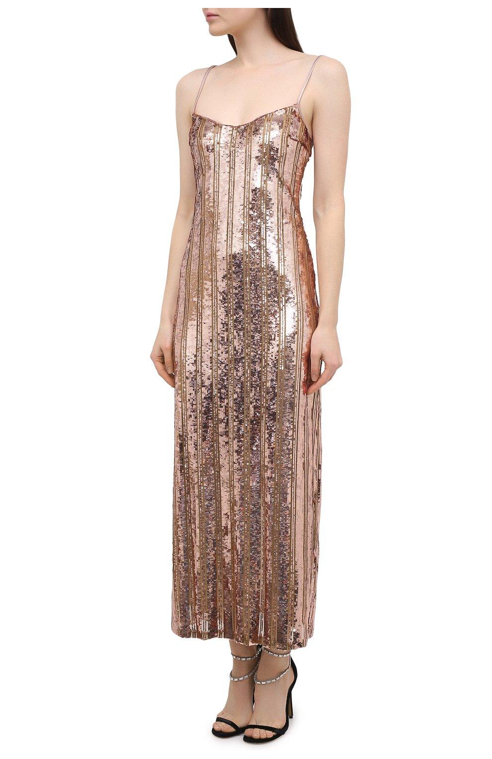 Женское платье с пайетками GALVAN LONDON золотого цвета, арт. CD1067 STRIPE MIRR0R SEQUIN   Фото 3