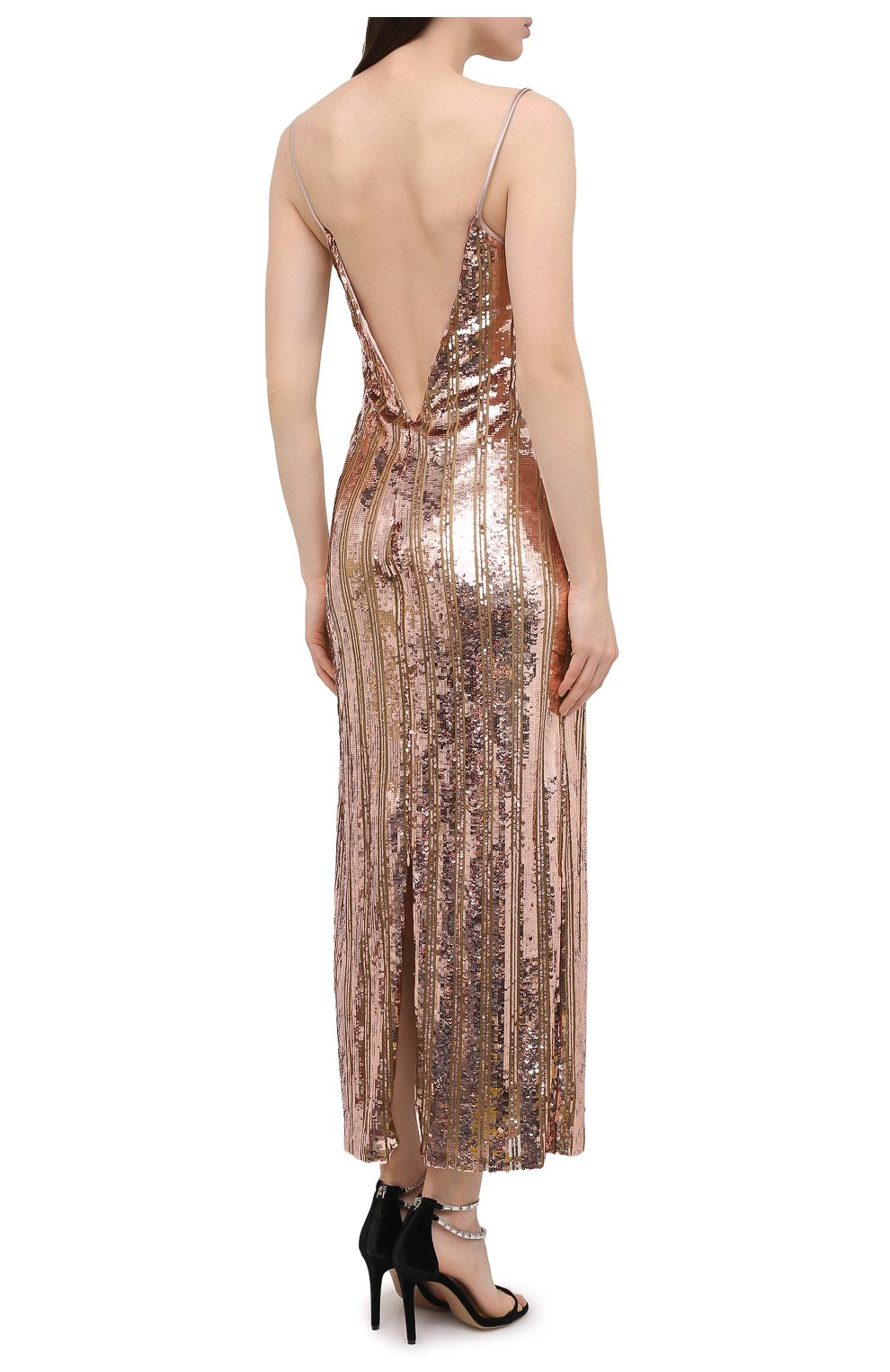 Женское платье с пайетками GALVAN LONDON золотого цвета, арт. CD1067 STRIPE MIRR0R SEQUIN   Фото 4