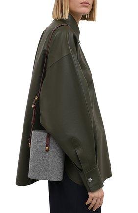 Женская сумка LORO PIANA серого цвета, арт. FAL4492 | Фото 2 (Ремень/цепочка: На ремешке; Сумки-технические: Сумки через плечо; Размер: mini)