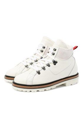 Женские кожаные ботинки KITON белого цвета, арт. DSSMTZWX04R81 | Фото 1